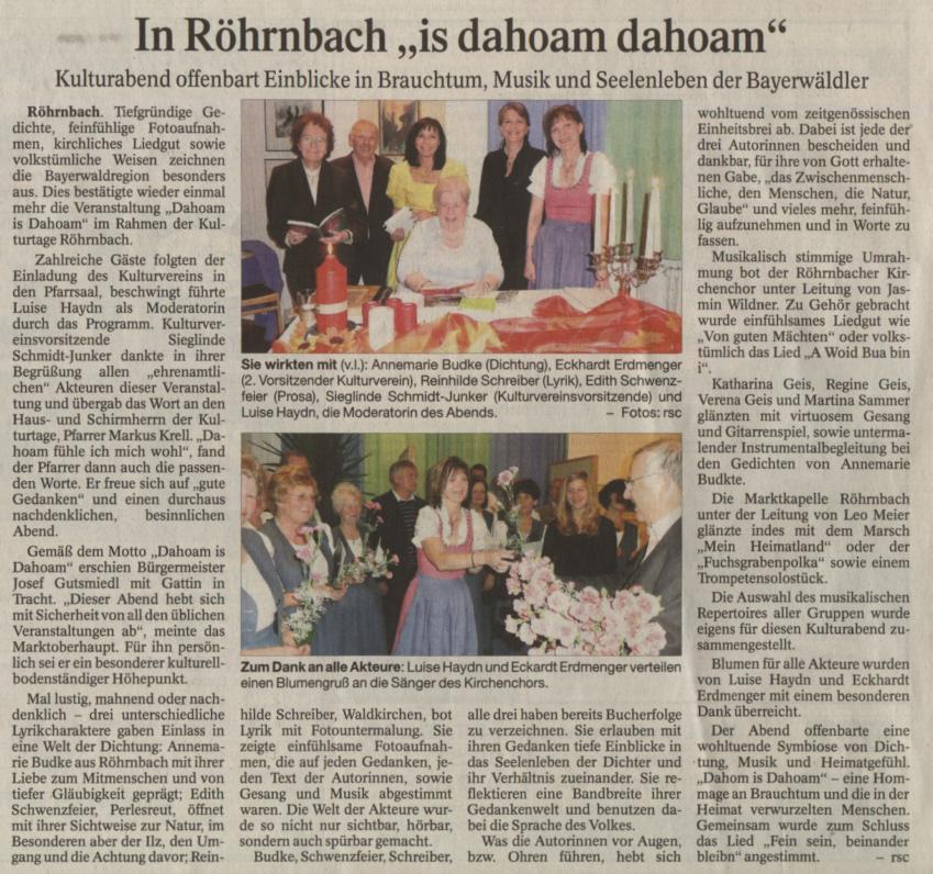 """Pressebericht in der PNP vom 15. Oktober 2008 - In Röhrnbach """"is dahoam dohoam"""""""