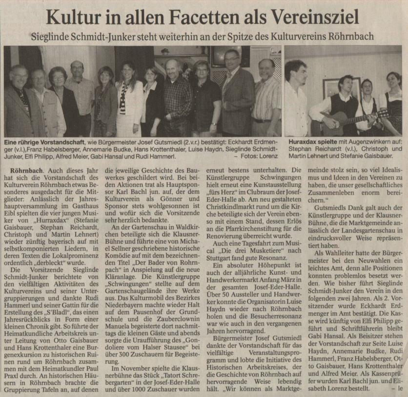 Pressebericht in der PNP vom 26. Mai 2008 - Kultur in allen Facetten als Vereinsziel