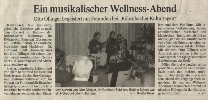 Pressebericht in der PNP vom 10. Oktober 2008 - Ein musikalischer Wellness-Abend