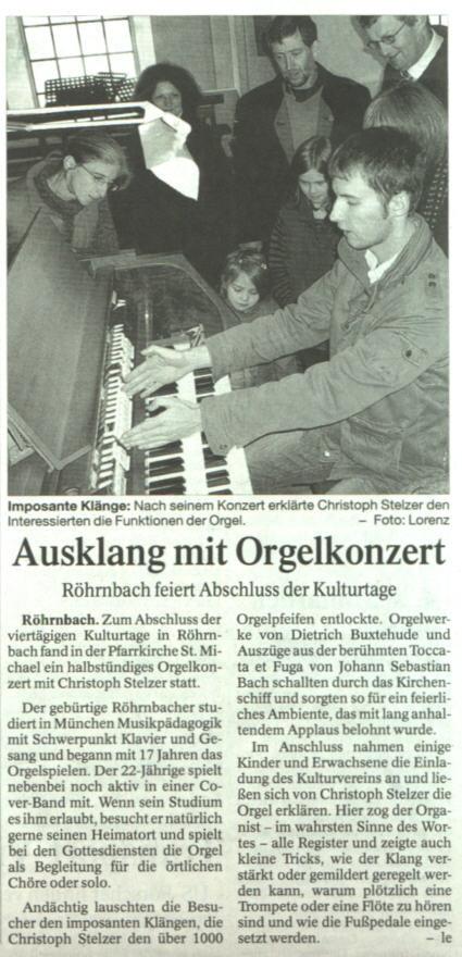 Ausklang mit Orgelkonzert - Pressebericht in der PNP vom 16. Oktober 2008