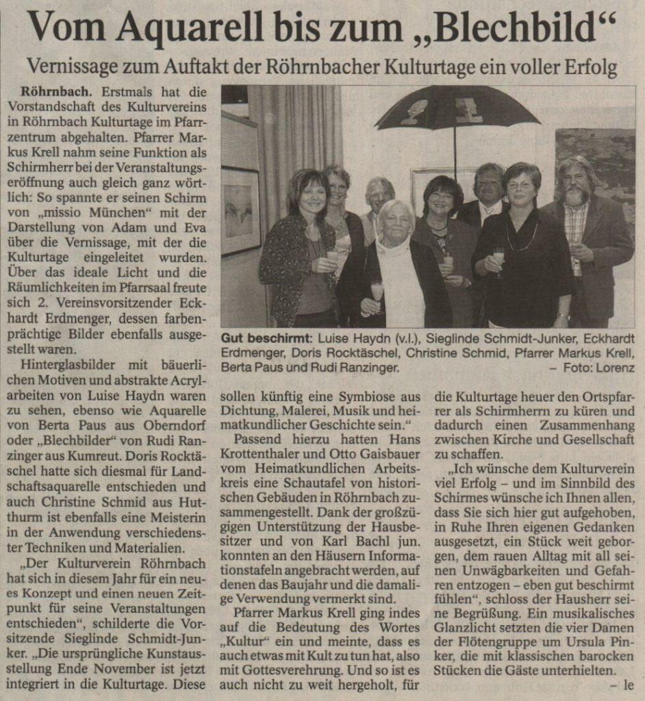 """Pressebericht in der PNP vom 9. Oktober 2008 - Vom Aquarell bis zum """"Blechbild"""""""