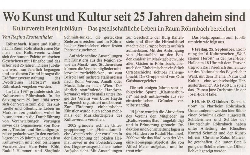 Pressebericht in der PNP vom 24. September 2009 - Wo Kunst und Kultur seit 25 Jahren daheim sind