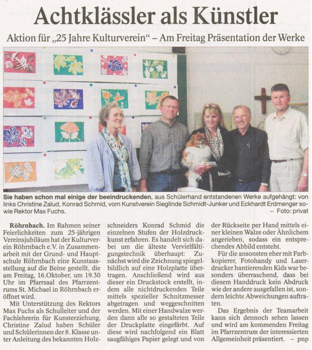 Pressebericht in der PNP vom 12. Oktober 2009 - Achtklässler als Künstler