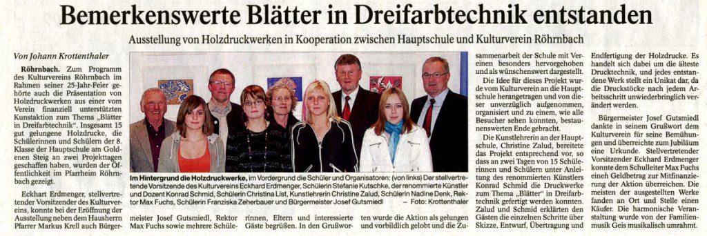 Pressebericht in der PNP vom 31. Oktober 2009 - Bemerkenswerte Blätter in Dreifarbtechnik entstanden