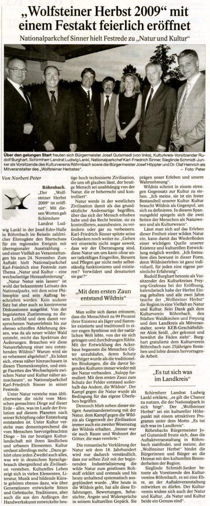 """Pressebericht in der PNP vom 28. September 2009 - """"Wolfsteiner Herbst 2009"""" mit einem Festakt feierlich eröffnet"""
