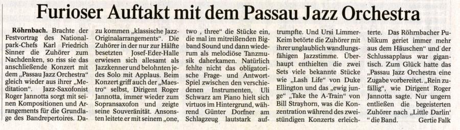 Pressebericht in der PNP vom 28. September 2009 - Furioser Auftakt mit dem Passau Jazz Orchestra
