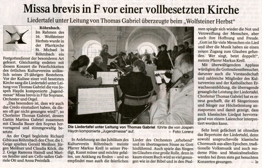 Pressebericht in der PNP vom 22. Oktober 2009 - Missa brevis in F vor einer vollbesetzten Kirche