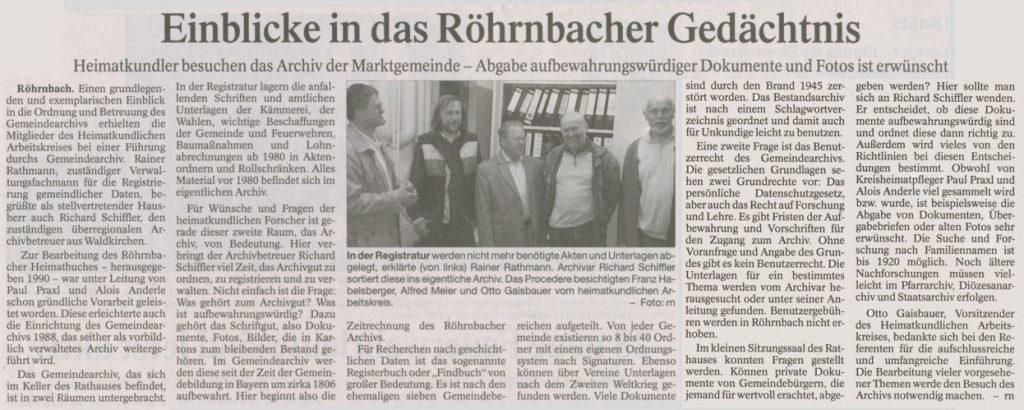 Pressebericht in der PNP vom 19. Mai 2009 - Einblicke in das Röhrnbacher Gedächtnis