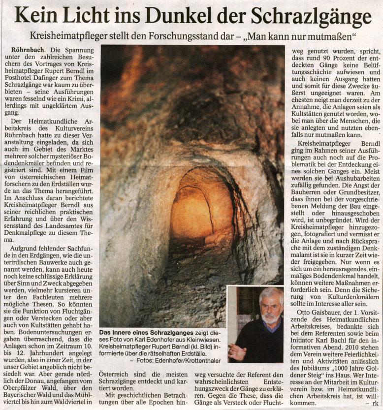 Pressebericht in der PNP vom 19. November 2009 - Kein Licht ins Dunkel der Schrazlgänge