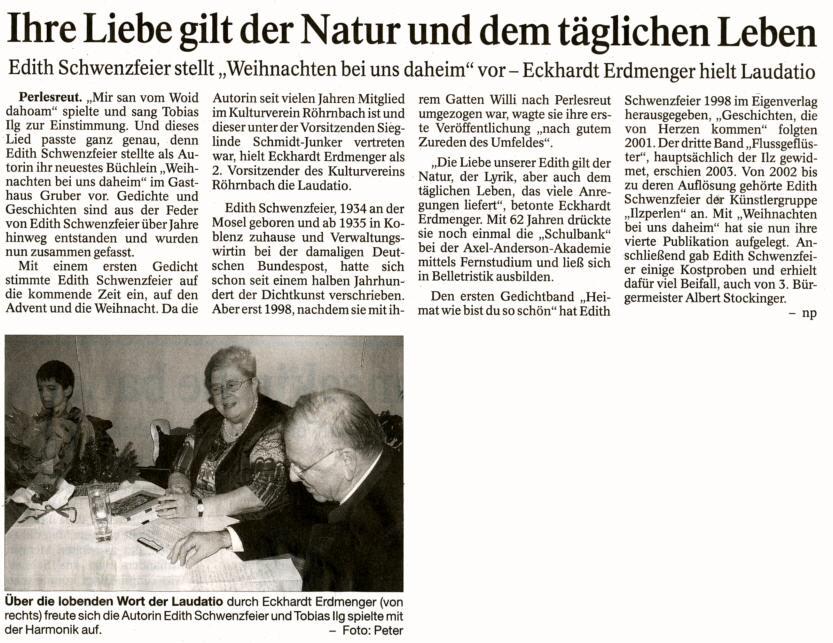 Pressebericht in der PNP vom 27. November 2009 - Ihre Liebe gilt der Natur und dem täglichen Leben