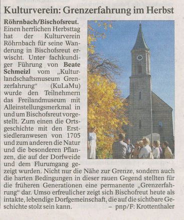 Pressebericht in der PNP vom 06. November 2012 - Kulturverein: Grenzerfahrung im Herbst