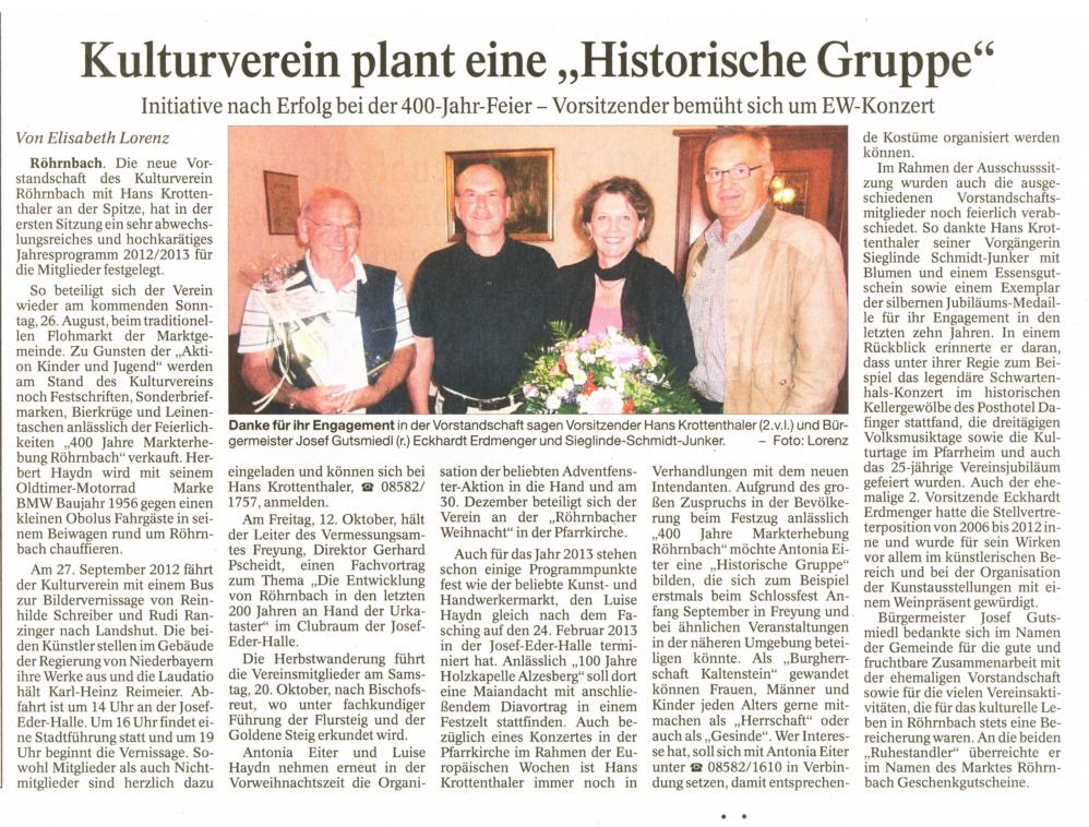 """Pressebericht in der PNP vom 20. August 2012 - Kulturverein plant eine """"Historische Gruppe"""""""
